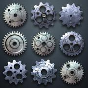 Gear on the carbon metallic wall. home decoration. Stock Illustration