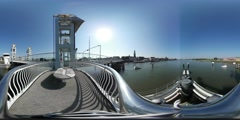 Virtual Reality 360 view from the citybridge over the IJssel in Kampen Stock Footage