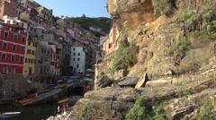 Riomaggiore, one of the famous Cinque Terre village. Stock Footage