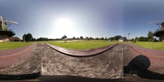 Virtual Reality 360 view from the Monninkenmolen windmill in Sint Jansklooster Stock Footage