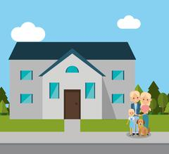 Home house building and family design Stock Illustration