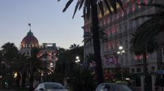 Luxury Hotel Negresco in the night, Nice,France Stock Footage