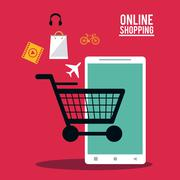 Shopping online ecommerce and media design Piirros