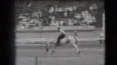 1941: adult male, on galloping, lurching steed, without a saddle, moves quickly Stock Footage