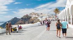 Santorini Greece Picturesque Street Scene Stock Footage