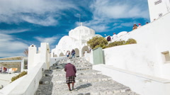 Santorini Greece Orthodox Cathedral with Locals Stock Footage