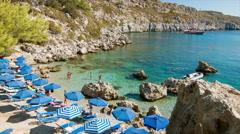 Rhodes Greece Tourists Enjoying Anthony Quinn Bay Stock Footage