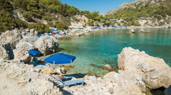 Anthony Quinn Bay Beach in Rhodes Greece Stock Footage