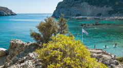 Rhodes Greece Anthony Quinn Bay with People Swimming Stock Footage