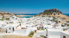 Town of Lindos in Rhodes Greece Stock Footage