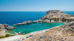 St Paul's Bay at Lindos in Rhodes Greece Stock Footage