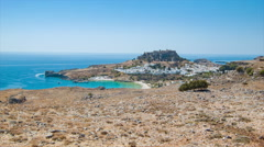 Overlooking Lindos in Rhodes Greece Stock Footage