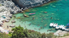 Beach at St Paul's Bay in Londos on Rhodes Greece Stock Footage