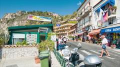Taormina Sicily Vibrant Town Scene Stock Footage
