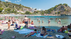 Taormina Sicily Isola Bella Close-up Beach Scene Stock Footage