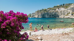 Taormina Sicily Italy Beautiful People on Beach Stock Footage
