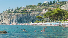 Taormina Sicily Beaches with Steep Cliff Background Stock Footage