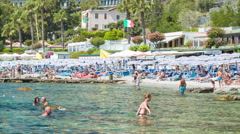 Taormina Sicily Popular Isola Bella Beachfront Stock Footage