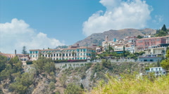 Cliffside Buildings in Taormina Sicily Italy Stock Footage