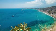 Scenic Taormina Sicily Italy Mediterranean Overlook Stock Footage