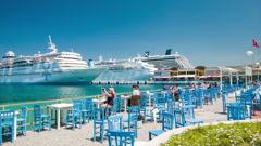 Kusadasi Turkey Tourists at Scenic Cruise Port Stock Footage