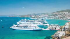 Kusadasi Turkey Vibrant Scene Overlooking Cruise Port Stock Footage