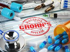 Crohns disease diagnosis. Stamp, stethoscope, syringe, blood test and pills o Stock Illustration