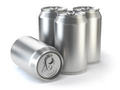 Aluminium beer cans  isolated on white. Stock Illustration
