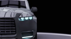 Modern car, 3D car animation on a black background the camera zooms Stock Footage