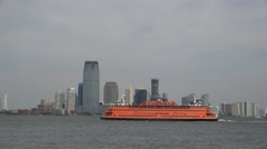 Staten Island ferry with Jersey City behind, New York, United States. Stock Footage