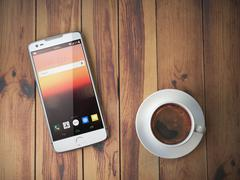 Mobile phone and coffee cup on wooden background. Stock Illustration