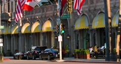 Luxury cars stop at Beverly Wilshire Hotel landmark in Los Angeles 4K from RAW Stock Footage