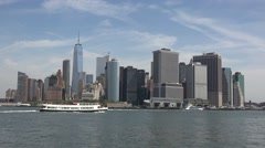 Lower Manhattan (in 4k) viewed from Governors Island, New York, United States. Stock Footage