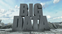 Big Data - phrase as stone towers representing cloud storage and networking Stock Footage