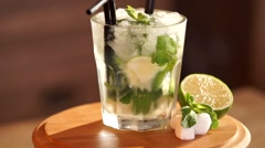 Mojito coctail Stock Footage