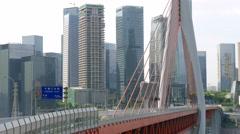 China Chongqing Qianximen twin river bridge with city blocks Stock Footage