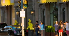Luxury cars traffic and tourists at Beverly Wilshire Hotel in Beverly Hills 4K Stock Footage