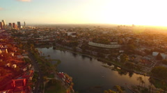 Los Angeles Aerial Lake 11 Downtown Sunset 4K Stock Footage