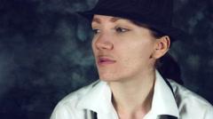 4k LGBT Shot of Transvestite Woman Like Man Smoking Stock Footage