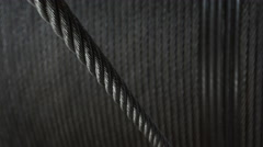 Steel rope wound on winch drum Stock Footage