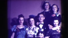 1941: a group of women and a guy singing and waddle amusingly NEW YORK Stock Footage