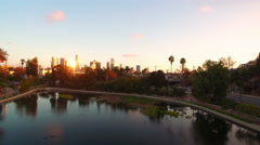Los Angeles Aerial Lake 16 Downtown Sunset 4K Stock Footage