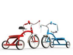 Red and blue tricycles - studio shot Stock Illustration