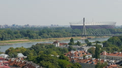 Warsaw, Poland. View of Warsaw and Vistula river from above Stock Footage