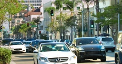 Traffic jam and luxury cars, Los Angeles, California, 4K, RAW Stock Footage