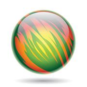 Green and Yellow Planet Sphere Stock Illustration