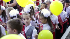 First-graders with yellow balloons. School. 1 September. Stock Footage