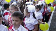 First graders are worried. School. 1 September. Stock Footage