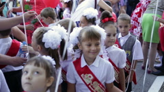 First-graders with balloons. School. 1 September. Stock Footage