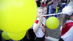 Boys with yellow balloons. School. First Grade. 1 September. Stock Footage